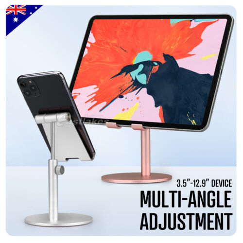 For iPad iPhone Samsung Adjustable Aluminum Tablet Stand Holder Desk Table Mount