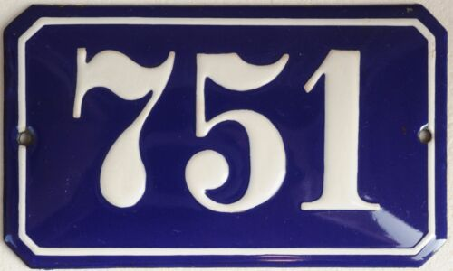 Old blue French house number 751 door gate plate wall plaque enamel metal sign
