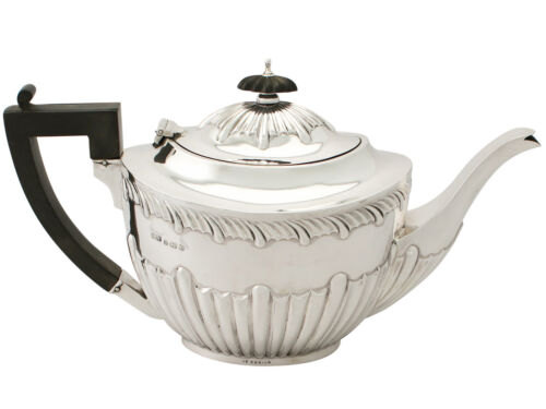 Antique Edwardian Sterling Silver Teapot Queen Anne Style 466g