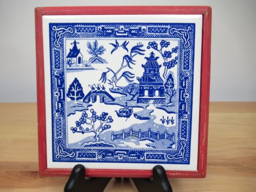 Vintage Asian Ceramic Tile Soriano Ceramics Framed Blue Delft Japan China
