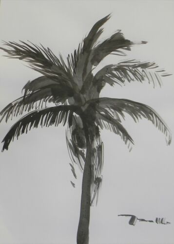 """Jose Trujillo 18x24"""" Ink Wash Painting Abstract Palm Tree Contemporary New"""