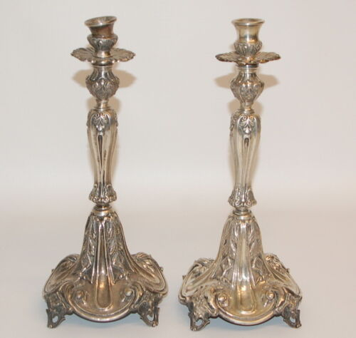 Pair of Antique Continental European Coin Silver Ornate Candlestick Holders