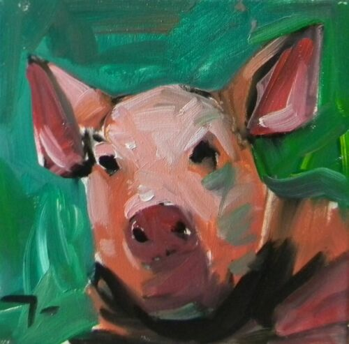 JOSE TRUJILLO Impressionist Oil Painting LITTLE PIG Modern Abstract SIGNED PINK