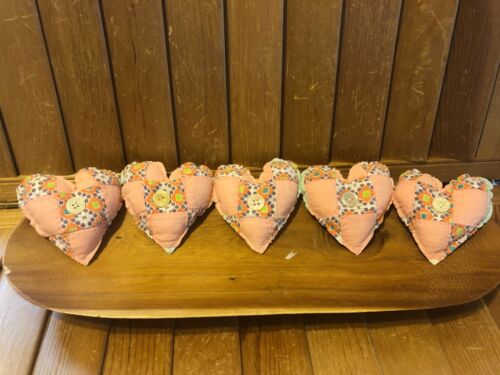 Primitive  Valentine Heart bowl fillers-  vintage quilt - salmon - button
