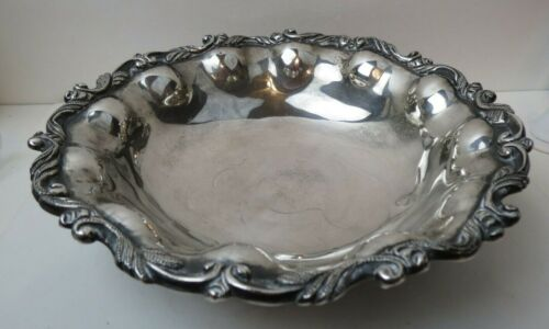 """Lovely 9"""" Lobed & Footed Mexican Sterling Silver Bowl with Gorgeous Trim 506 gr"""