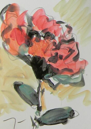 """JOSE TRUJILLO ACRYLIC on Paper PAINTING Red Flower Contemporary Art 9x12"""" SIGNED"""