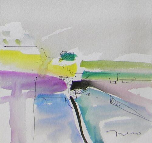 JOSE TRUJILLO - NEW ORIGINAL Watercolor Painting Expressionist ABSTRACT Modern