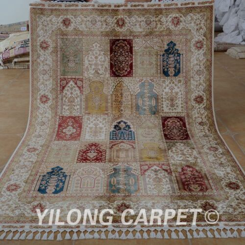 Yilong 5.5'x8.2' Silk Area Rugs Hand Knotted Four Seasons Hand made Carpets 1678