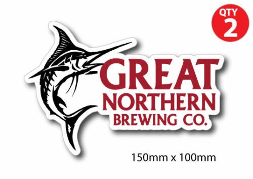2 X Great Northern Brewing Co BEER  Stickers 4x4 Mancave BBQ BOAT CAR Trailer