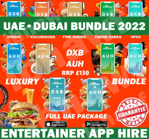 #1 Dubai / UAE Bundle ENTERTAINER 2021 • Fine Dining + Casual Food + Fun + More <br/> 8-Day App Hire. Never knowingly undersold.