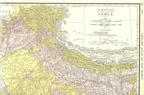 1912 Antique India Map RARE Size Large Map of India Wall Art 7443