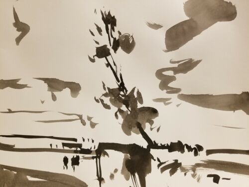 JOSE TRUJILLO - ABSTRACT EXPRESSIONISM INK WASH on Paper Landscape Fauvism Tonal