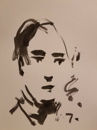 """JOSE TRUJILLO - Contemporary Modernism INK WASH SIGNED 11X15"""" Portrait Abstract"""