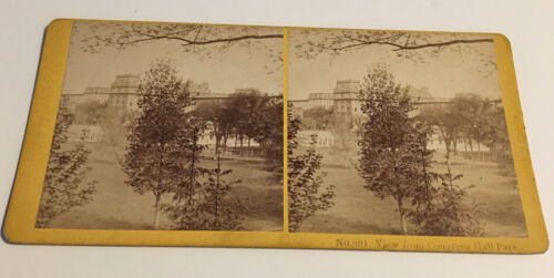 KILBURN BROS STEREOVIEW VIEW FROM CONGRESS HALL HOTEL PARK SARATOGA SPRINGS  NY