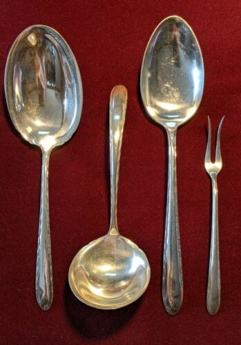 Towle Sterling Silver 4-Piece Serving Pieces Silver Flutes Pattern - No Monogram