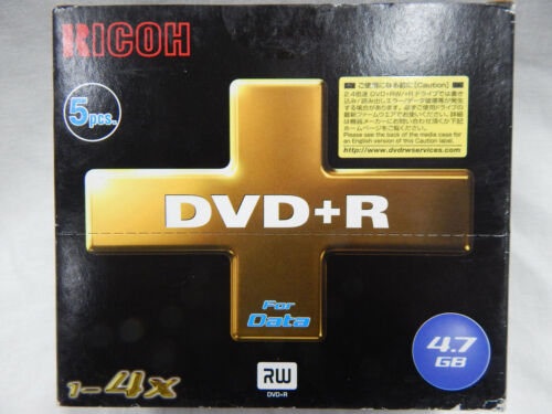 RICOH 5pack DVD+R 4.7GB 1~4x - Each Disk has its own case - OLD STOCK CLEARANCE
