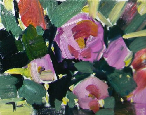 """NEW ORIGINAL - OIL PAINTING 8X10"""" Collectible Pink Roses Art By JOSE TRUJILLO"""