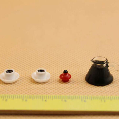 3x Fashion Coffee Pot Cup Saucer  Miniature  For 1:12 Scale Dollhouse