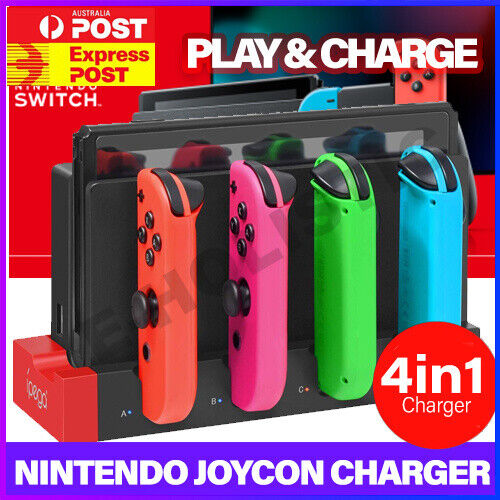 4 IN 1 JoyCon Charger Charging Dock Stand For Nintendo Switch NS Animal Crossing