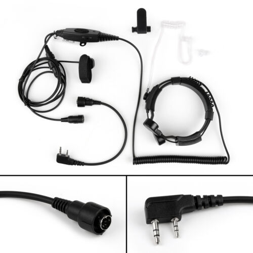 Tactical Heavy Duty Throat Mic Headset PTT VOX For Baofeng Kenwood Puxing