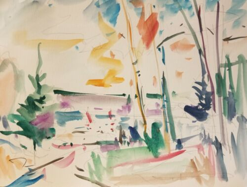 """JOSE TRUJILLO - COLLECTIBLE Watercolor Painting 11x15"""" Impressionism - WOODS 001"""