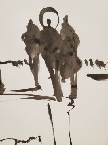 """JOSE TRUJILLO Figures Group EXPRESSIONISM INK WASH SIGNED COLLECTIBLE 9x12"""""""