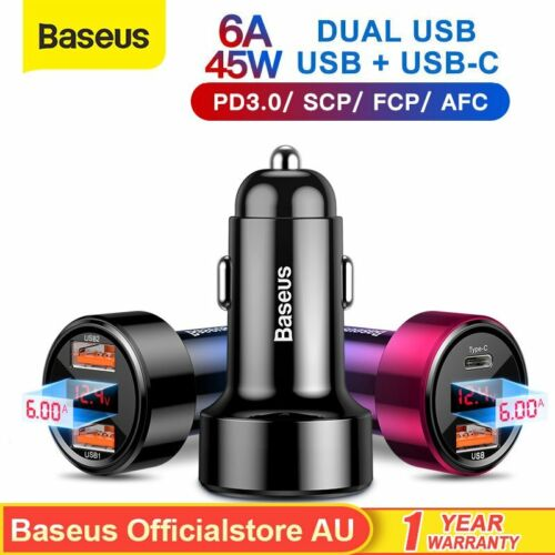Baseus 45W Fast Charging Car Charger PD3.0 USB Type-C Cigarette Lighter Adapter