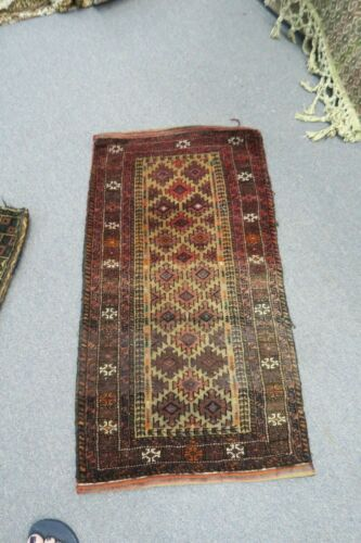 """Antique Hand Knotted Wool Afghan Balouch Prayer Meditation Rug 20"""" x 37"""""""