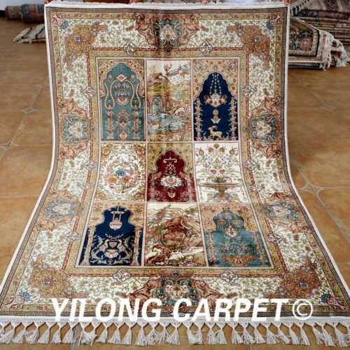 Yilong 4.3'x6.6' Handmade Silk Rug Classic Decorative Hand Knotted Carpets 1777
