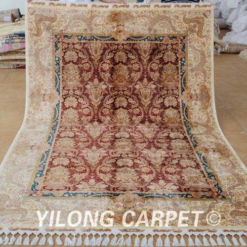 Yilong 5.5'x8' Classic Silk Area Rugs Hand Knotted Home Decor Carpets Sales 1696