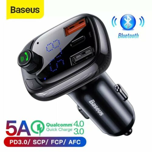 Baseus Bluetooth 5.0 FM Transmitter Car Kit Adapter MP3 Player Dual USB Charger