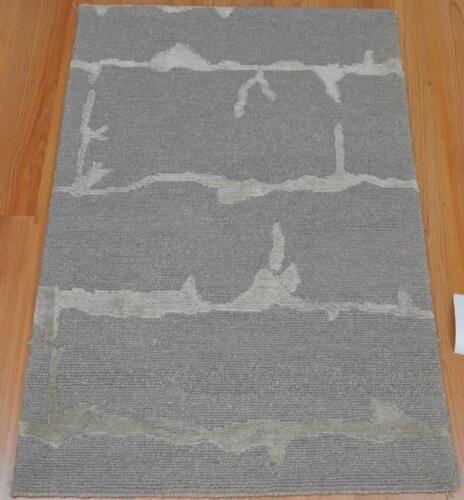 1'11 x 2'10 Flannel Color Contemporary Modern Design Hand Knotted Wool Area Rug