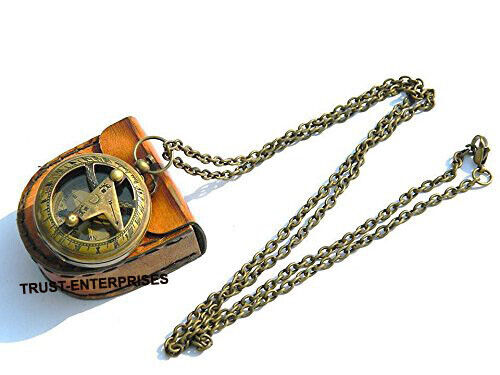 Antique Brass Nautical Pocket Chain Compass Marine Collectible Compass With Case