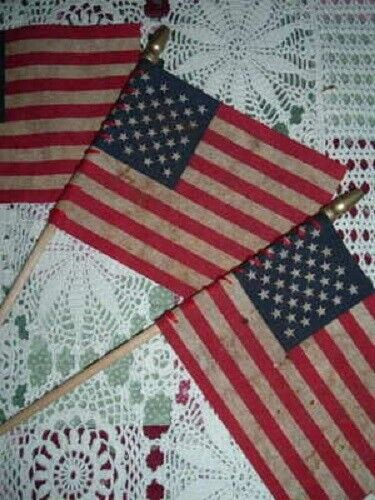3 Walnut Ink Stained Flags Rustic Primitive Crafts Rustic Americana