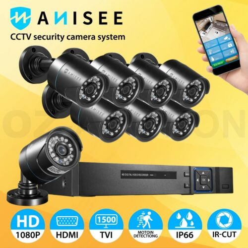 8 Pack CCTV Security System Home Camera 8CH DVR 1080P Outdoor Day Night Long Ran