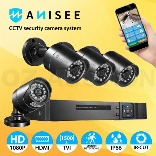 IP Camera 4CH DVR 1080P CCTV  Home Security System Outdoor Day Night Long Range