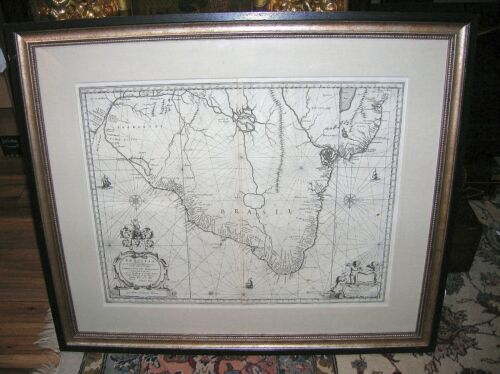JOHANNES BLAEU BRASIL MAP C.1640 - NICE CONDITION - GALLERY FRAMED & GLAZED
