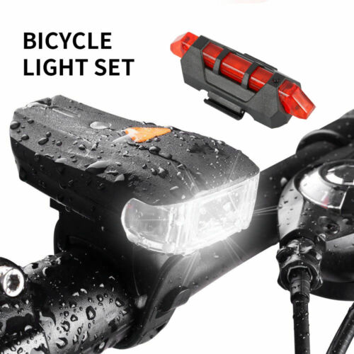 MTB Bicycle Cycling USB Rechargeable 4 Model LED Head Front Light/Rear Tail Lamp