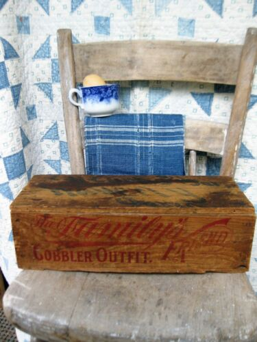 Antique Wood Box The Family Friend Cobbler Outfit Waverly Iowa