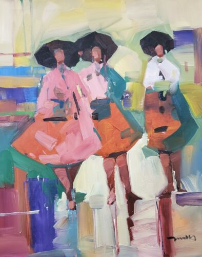 JOSE TRUJILLO OIL PAINTING EXPRESSIONISM ORIGINAL FIGURES PEOPLE TOGETHER NR