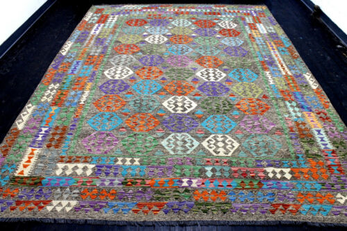 8X11 EXQUISITE MASTERPIECE MINT HAND KNOTTED ALL WOOL MEYMEHH SHEERAZZ KILIM RUG