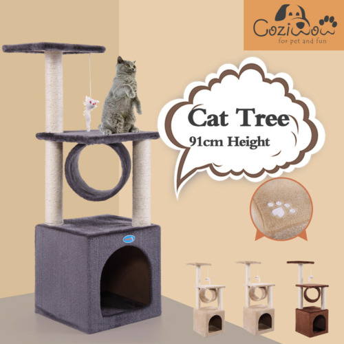 91cm Cat Tree Scratching Post Pole Tower Condo Kitty Activity Center Bed Stand
