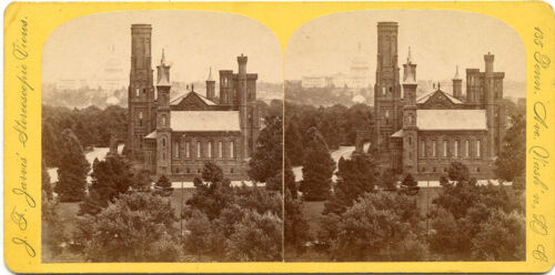 J F JARVIS WASHINGTON DC STEREOVIEW SMITHSONIAN AND CAPITOL SCENE 1870'S