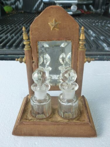 UNUSUAL  PAIR OF CUT CRYSTAL VICTORIAN PERFUME BOTTLES W WOOD STAND WITH MIRROR