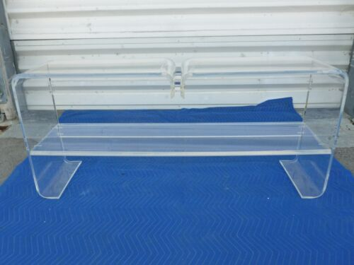 LONG  UNUSUAL ARCHITECTURAL MOD SPACE AGE 1970'S  LUCITE SOFA TABLE #2