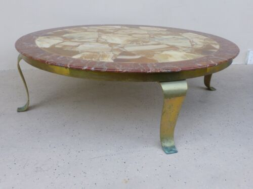 SPECTACULAR  MULLER BROTHERS ONYX & ALABASTER COFFEE TABLE W CURVED BRASS LEGS