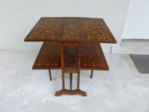 19TH / 20TH C GERMAN INLAID FLORAL MARQUETRY TWO TEER TABLE