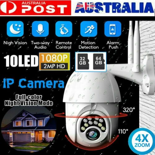 1080P HD IP CCTV Camera Waterproof Outdoor WiFi PTZ Security Wireless IR Cam