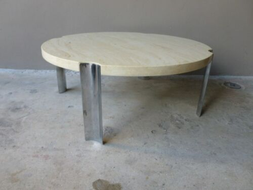 1970'S ROUND SELIG FAUX MARBLE FLYING SAUCER COFFEE TABLE W 4 THICK CHROME LEGS