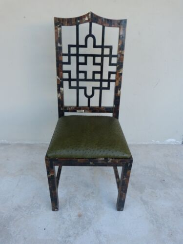 70'S CHINESE CHIPPENDALE TESSELLATED HORN CHAIR W OSTRICH LEATHER